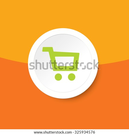 Flat shopping cart basket sticker with add to cart icon. Add to cart vector button.  Ecommerce interface elements. Modern ui buy now buttons for online store. Green, orange buy ribbon for t-shirt.