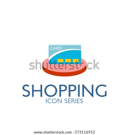 Flat Shopping Icon. Vector Illustration. Credit Card Icon - stock vector