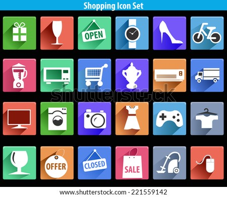 flat shopping icons with long shadow effect in stylish colors of modern shopping objects and items - vector eps10 - stock vector