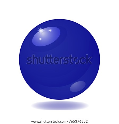 Flat simple image with Magic blue ball isolated on white background with shadow. Colorful picture with glass object. Vector illustration with fortune-telling attribute. Mystical and mysterious object.