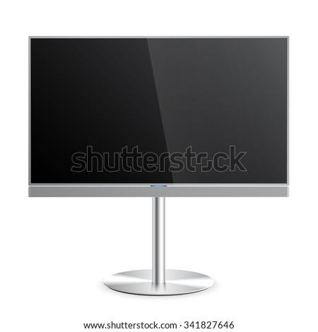 Flat Smart TV Mockup with blank screen on the Floor Stand, soundbar, flat screen lcd, realistic, vector - stock vector