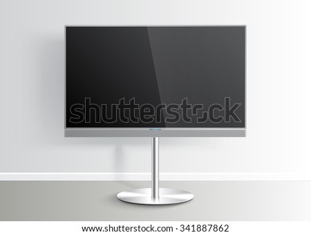 Flat Smart TV with blank screen on the Floor Stand, room, flat screen lcd, realistic, vector Mockup - stock vector