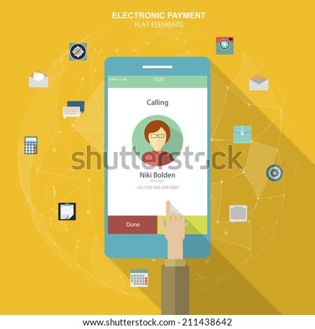 Flat social icons smartphone design infographics. UI flat design. Mobile app. Electroniv payment - stock vector