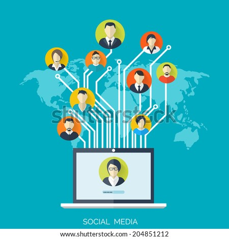 Flat social media and network concept. Business background, global communication. Web site profile avatars. Connection between people. Forum map. - stock vector