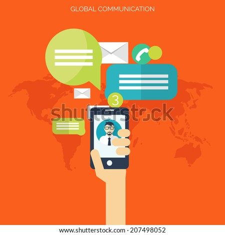 Flat social media and network concept. Global communication. Web site profile avatars. Connection between people. Forum map. - stock vector