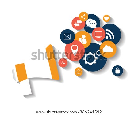 Flat social media icons in balloon with speaker vector eps 10 blue and red - stock vector