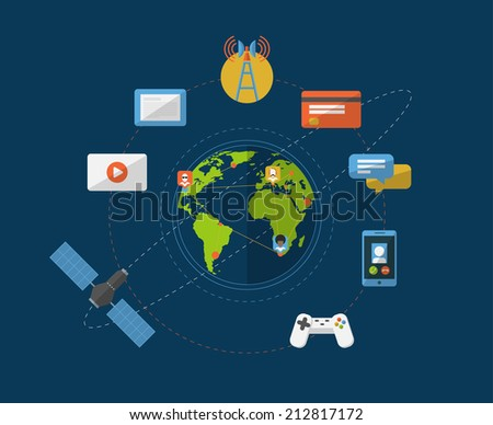 Flat social networking infographic template. Earth globe with internet connections and hubs surrounded by media and web signs and symbols. EPS10 vector image. - stock vector