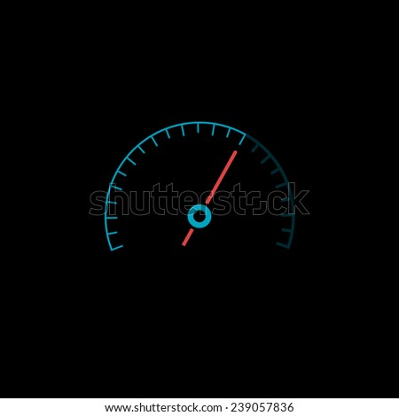 Flat speedometer icon. Isolated on black background. Vector illustration, eps 8. - stock vector