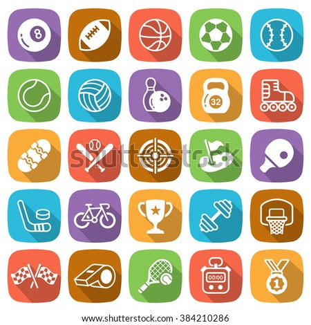 Flat sport and game trendy icons with shadow. Vector illustration