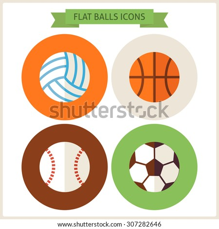 Flat Sport Balls Website Icons Set. Vector Illustration. Flat Circle Icons for web. Sports and Recreation. Collection of Healthy Lifestyle. Sport Activities Competition and Team Sport Games