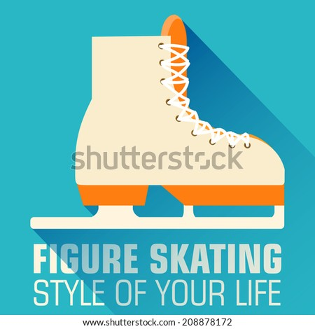 Flat sport figure skating background concept. Vector illustration design - stock vector