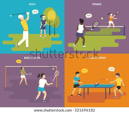 Flat sport icons set of boy plays golf, young women are playing tennis and badminton, two guys take part in a table tennis competition - stock vector