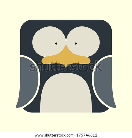 Flat square icon of a cute penguin on yellow background - stock vector