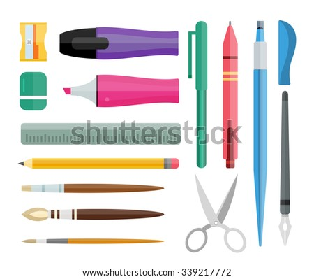 Flat stationery drawing tools, pen set. Paintbrushes, felt-tip, pencil and marker highlighter collection. Pens vector set. School pens tools. Artistic tools brushes. Office tools. Education tool icons - stock vector