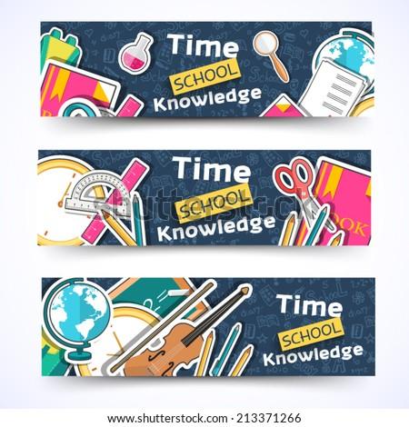 flat sticker back to school horizontal banners concept. Vector illustration design - stock vector