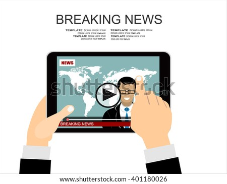 Flat style banner concept of breaking news with  tablet  with news  announcer in the studio. - stock vector