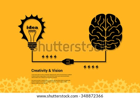flat style banner concept of creativity and vision, human intelligence, new idea, brain storming - stock vector