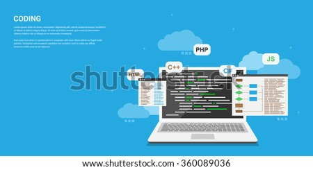 flat style banner design, coding, programming, application development concept - stock vector