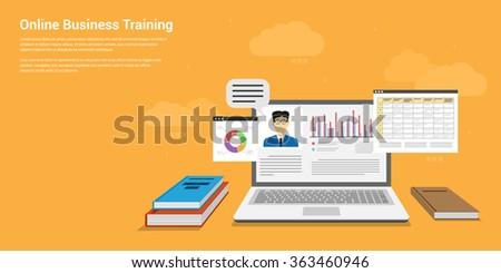 flat style banner design of online business training, webinar, online education concept - stock vector