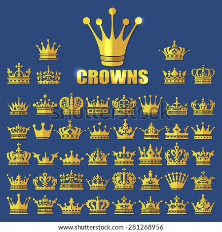 Flat style beautiful gold crowns vector icon big set, vector collection and bundle isolated  design elements, symbol or sign for your flyer, brochure, poster, banner, logo and label  design