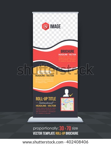 Flat Style Business Concept Roll-Up Banner Design - stock vector