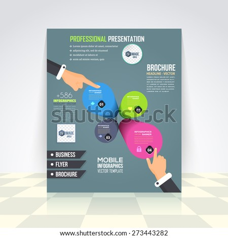 Flat Style Business Infographics Template, 3d Symbol Vector Design Flyer, Numbered Banner, Icon Elements, Corporate Brochure - stock vector