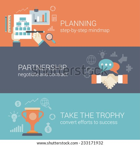 Flat style business planning, partnership and success results process infographic concept. Hand drawing strategy chart mindmap, contract handshake, trophy cup web site icon banners templates set. - stock vector