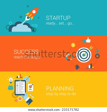 Flat style business startup planning launch and success infographic concept. Spaceship fly bow arrow in target schedule plan checklist web site icon banners templates set. Hero unit parallax template. - stock vector