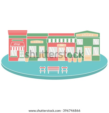 Flat style cafe restaurant bistro little tiny shop icon set food market shoes and coffee. Vector flat architecture detailed icons on retro style  shop store and Small business icons with facades  - stock vector