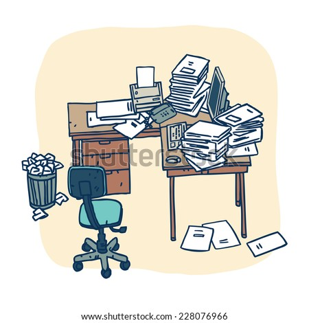 Flat Style Cartoon Design Concept of Creative Office Workspace. Office Things, Objects and Equipment for Workplace Design. Vector Illustration - stock vector