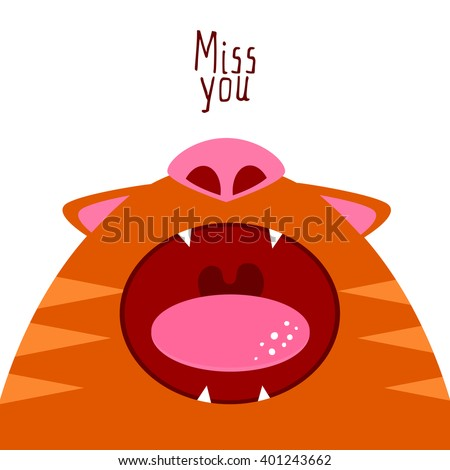 Flat style cat illustration say Miss you. Open mouth. Missing cat funny character. Romance card. Valentines card. Card with cartoon character. Miss you card - stock vector