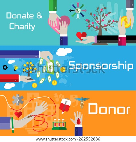 Flat style charity, sponsorship and donor banners - stock vector