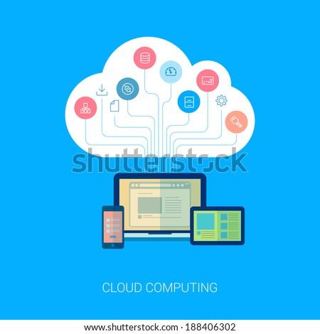 Flat style cloud computing, internet analytics, seo, web design, apps and web development vector icons illustration. Cloud tree growing from computer, table and phone modern illustration concept. - stock vector