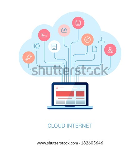 Flat style cloud computing, internet marketing, seo, web design and apps development vector icons illustration. Cloud tree growing from laptop computer. - stock vector