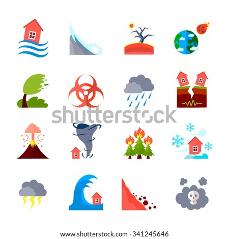 Flat style colored icons set of different natural disasters and civilization negative effects isolated vector illustration - stock vector