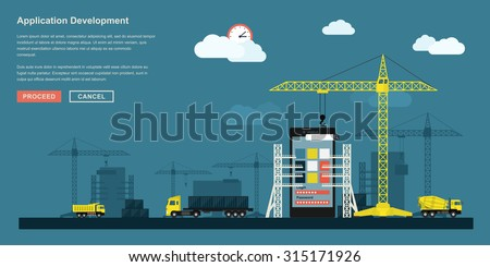 flat style concept for smartphone application development working process, metaphorical representation of app development workflow like industrial construction with lifting cranes, trucks etc. - stock vector
