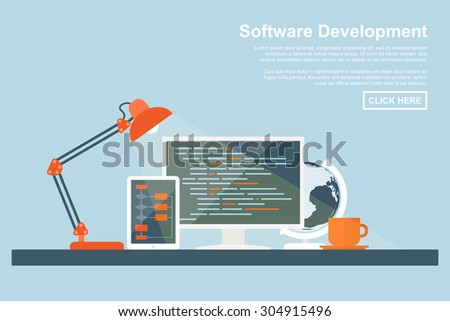 flat style concept for software development, programming and coding, search engine optimization, web development concepts - stock vector