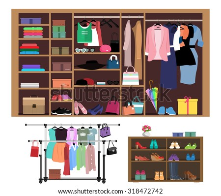 Flat style concept of wardrobe for women. Stylish closet with fashion clothes, shoes and bags. Set of hangers with clothes isolated vector illustration - stock vector
