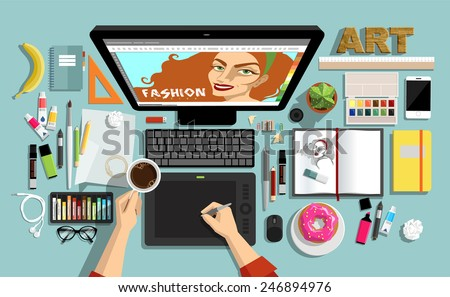 Flat Style  Creative Designers Workspace. Icons Collection of Work Flow Items and Elements, Stationery and Drawing Tools, Pen, Paintbrushes, Pencils, Marker and Highlighter,  Objects and Equipment . - stock vector