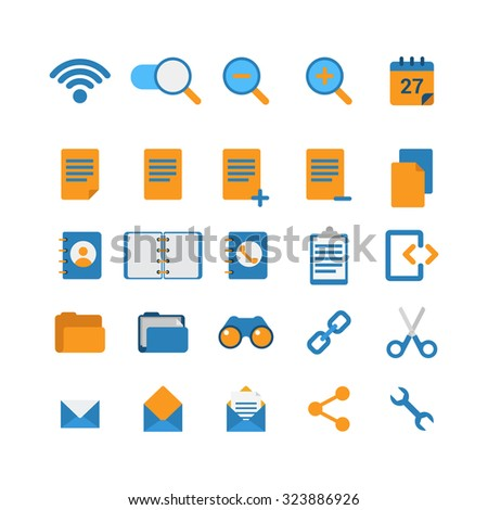 Flat style creative modern mobile web app concept icon set. Wi-fi network zoom in out calendar address phone book folder binoculars cut link email message share options. Website icons collection.