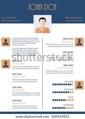 Flat style curriculum vitae cv resume design - stock vector