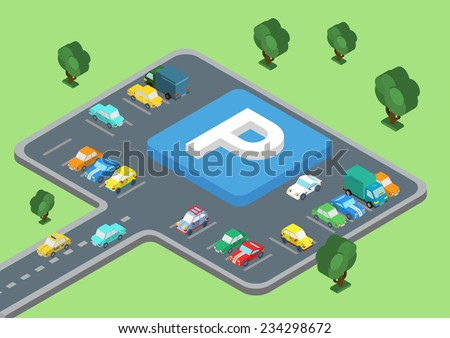 Flat style 3D isometric vector illustration concept of public outdoor open parking area. Big letter P road sign laying on parking slots. Cars on the road and stopped parked. - stock vector