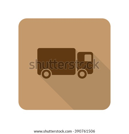 Flat style Delivery Truck web app icon on light brown background