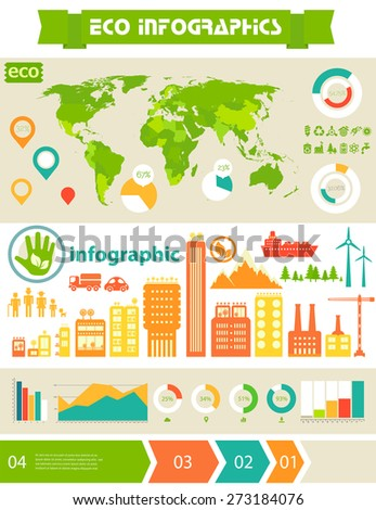 Flat style design eco city infographic