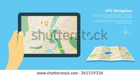 Flat style design of web banner template for website or infographics, mobile navigation GPS system, destination location, spotting and find the right way.