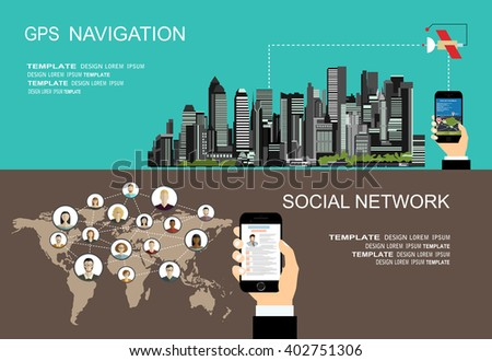 Flat style design of web banner template for website or infographics, mobile navigation GPS system, destination location, spotting and find the right way. Global social network - stock vector