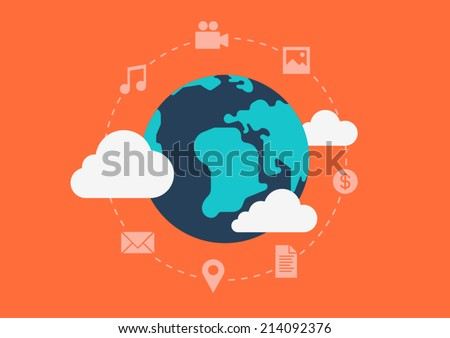 Flat style design vector illustration globalization cloud social media content abstract concept. Collage world map cloud icons money coin media data files messages. Big flat conceptual collection. - stock vector