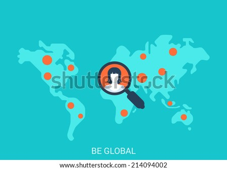 Flat style design vector illustration globalization concept. Collage world map red dot points magnifying glass woman profile avatar targeting search social media. Big flat conceptual collection. - stock vector