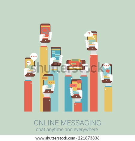 Flat style design vector illustration online messaging mobile app concept. Collage of hands holding touch phones with message im chat dialogue application infographics big flat conceptual collection.  - stock vector