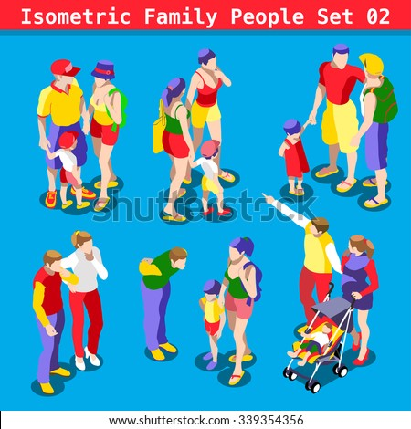 Flat style family Set. Young and Adult People in casual clothes. Vector elements for impressive Infographics. 3D Isometric Men and women in realistic poses. Rainbow Family Vector Illustration